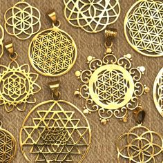 SACRED GEOMETRY Pendants Spiritual Jewellery Flower of Life Brass Ancient Symbol #UniversalDesign