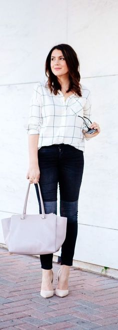 A casual button-down shirt, skinny jeans and neutral pumps is the perfect everyday look! Where this style to work, running errands, lunch dates and more! Where would you wear this ensemble?