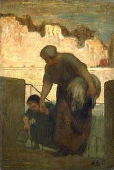 La blanchisseuse - vers 1863 - Honoré DAUMIER - huile sur toile - 49 x 33 cm - PARIS Musée d'Orsay