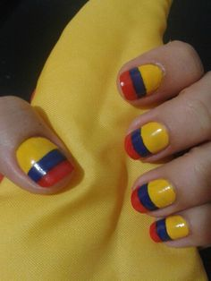 Uñas seleccion colombia Nail Tutorials, Simple Art, Nail Designs, Hair Beauty, Nail Polish, Nail Art, My Favorite Things, Patriots, Nails