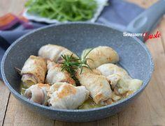 involtini pollo padella Italian Meat Dishes, Italian Meats, Carne, Prosciutto, Potato Salad, Shrimp, Chicken Recipes, Ethnic Recipes, Food