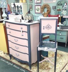 Pink and grey French provincial set. Done in Paint Couture. www.facebook.com/salvageddecor