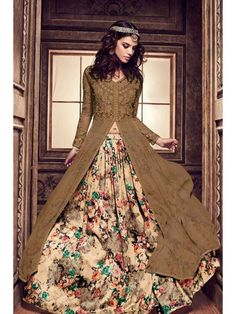 580a0a6be2 Buy Grey and pink color pure silk floral lehenga style party wear kameez at  kollybollyethnics with free worldwide shipping.