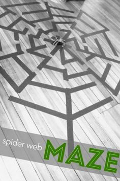 Tape out a giant spider web maze on the floor for the kids to find their way to the spider in the middle. A fun themed maze for kids this Halloween. Halloween Activities For Kids, Outdoor Activities For Kids, Halloween Kids, Halloween Party, Halloween Tricks, Summer Activities, Spider Web Craft, Spider Crafts, Washi