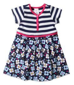 Blaue Blumen Toddler Short Sleeve Pretty Pleats Dress #Zutano