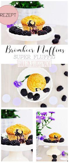 Hier findet ihr leckere und einfache Brombeer Muffins. Die Brombeere Muffins sind fluffig und dank der vielen Brombeeren sehr saftig.