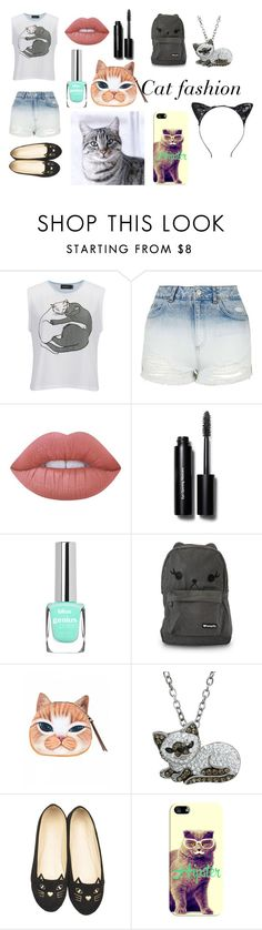 """""""Cat Fashion"""" by isabella-07dasilva ❤ liked on Polyvore featuring MINKPINK, Topshop, Lime Crime, Bobbi Brown Cosmetics, Loungefly, Animal Planet, WithChic and Casetify"""