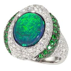 Katherine Jetter Opal Tsavorite Ring with Diamonds