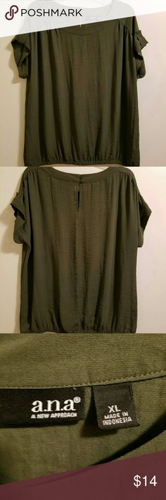 A.N.A. Blouse Size XL, color olive green. 100%polyester. See style by first two pictures. a.n.a Tops Blouses