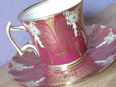 Antique Royal Chelsea fuschia pink and gold tea by ShoponSherman, $149.00