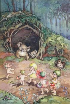 Gumnut Babies Meeting a Koala - Peg Maltby Flora, Vintage Children's Books, Vintage Stuff, Children's Book Illustration, Book Illustrations, Fairy Art, Australian Artists, Magical Creatures, Art Auction