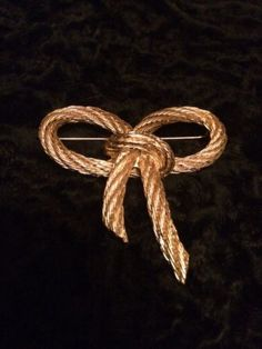 Authentic Vintage Christian Dior Nautical Rope Design Ribbon Brooch-Pin - http://designerjewelrygalleria.com/christian-dior/authentic-vintage-christian-dior-nautical-rope-design-ribbon-brooch-pin/