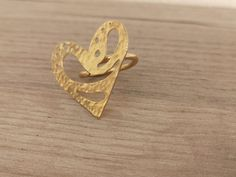 24k Gold Plated Heart Ring Adjustable Ring   Etsy Macrame Rings, Macrame Necklace, Macrame Bracelets, Green Earrings, Butterfly Necklace, Adjustable Ring, Beautiful Rings, Heart Ring, Etsy Seller