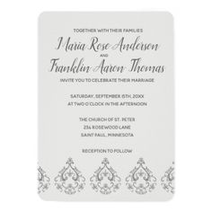 Black and Grey Damask Pattern Wedding Invitation - invitations personalize custom special event invitation idea style party card cards