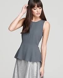 NWT EILEEN FISHER Silk Georgette Crepe Gray Sleeveless Peplum Top L...http://stores.shop.ebay.com/vintagefluxed