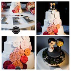 Pink ombré, modern wedding cake, etsy cake topper, origami inspiration.