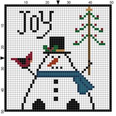 Woolensails: Free Christmas Cross Stitch Patterns! Joy Christmas Ornament cross stitch pattern; cute snowman will stitch up quickly.