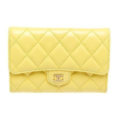 Chanel Yellow Quilted Lambskin Leather Gold Cc Closure Wallet ($905) ❤ liked on Polyvore featuring bags, wallets, lambskin leather bag, beige wallet, yellow wallet, quilted bag and gold wallet