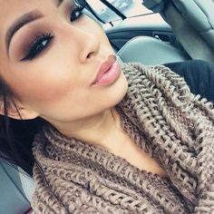 Makeup and I love the scarf for fall