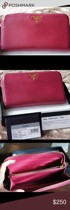Shop Women's Prada Pink size OS Wallets at a discounted price at Poshmark. Prada Wallet, Prada Bag, Neman Marcus, Prada Saffiano, Love To Shop, Confusion, Leather Wallet, Wallets, Zip Around Wallet