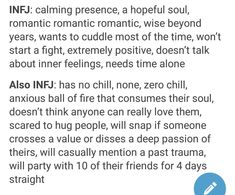 A LOT of truth. I will talk about inner feelings to make others feel relatable, understood. But there is a wall at a certain depth, where some things are not revealed. And def not romantic! Infj Mbti, Introvert, Intj, Infj Type, Knitting Quotes, Def Not, Infj Personality, Time Quotes, Quotes Quotes