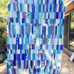 "293 Likes, 43 Comments - Kara Kreis (@karakreis) on Instagram: ""A quilt top finish!  My blue scrapbuster quilt - pattern from #sundaymorningquilts  Might have to…"""