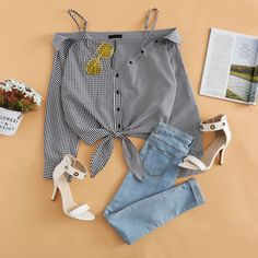 To find out about the Cold Shoulder Knot Button Striped Top at SHEIN, part of our latest Blouses ready to shop online today! Girls Fashion Clothes, Teen Fashion Outfits, Mode Outfits, Girly Outfits, Cute Casual Outfits, Look Fashion, Stylish Outfits, Korean Fashion, Looks Style