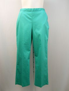 Alfred Dunner Jade Green Proportioned Medium Straight Legs Causal Pants Size 18 #AlfredDunner #CasualPants