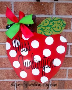 "14"" Metal Apple Door Hanger with Name - Teacher Appreciation. $35.00, via Etsy."