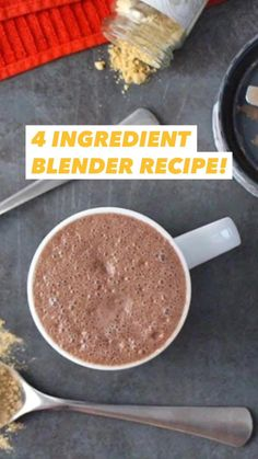 This 4-ingredient Ginger Mocha Maca Latte is going to transform your mornings! It's a not-too-sweet hot drink that's a great coffee alternative or pick-me-up.  You make it right in your blender, and I am obsessed with it!  #macalatte #recipe #vegan #ginger #mocha #veganmocha #coffeealternative Blender Recipes, Vegan Breakfast Recipes, Delicious Vegan Recipes, Vegetarian Chocolate, Chocolate Recipes, Easy Desserts, Dessert Recipes, Vegan Milk, Superfood Powder