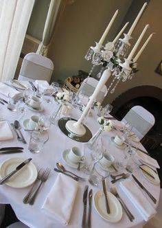 A traditional style candelabra with crystal droplets creates is lovely for guests to feel special. These can be hired in The Midlands from Make It Special Events.  http://www.makeitspecialevents.co.uk/