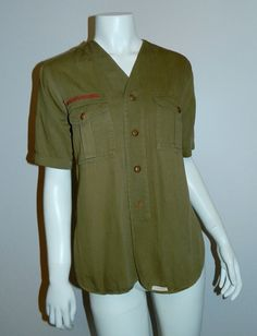 vintage 1930s Boy Scouts shirt / BSA uniform button front OD 36 inch chest / unisex XS by retrotrend on Etsy