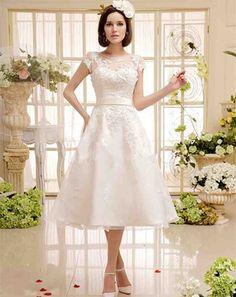 Cap Sleeve Tea Length Wedding Dress