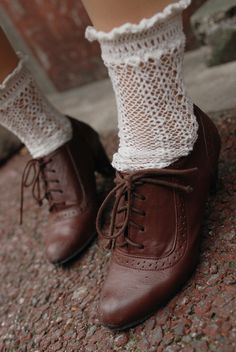 Lacy socks and oxford style shoes with a sweet little heel