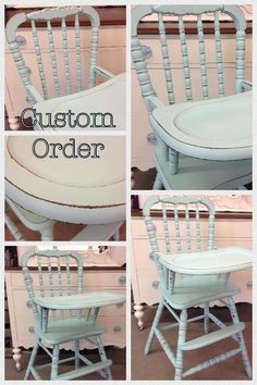 Painted High Chair By Vintage Charm And Restoration