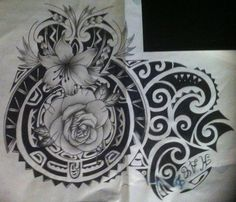 2013, A4 sakura graphic pens, pigma microns and touch marker. Commissioned polynesian 3/4 sleeve tattoo commission design, chest part. This is a PAID COMMISSION DESIGN, please DON'T use it or ask m...