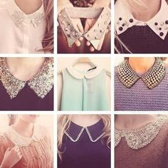 Studded Collar Shirt- How to Wear It peter pan collars, love it. Reminds me of Kate Middleton Dress Neck Designs, Collar Designs, Sleeve Designs, Blouse Designs, Sleeves Designs For Dresses, Cute Fashion, Diy Fashion, Ideias Fashion, Fashion Dresses