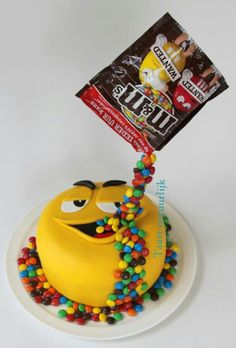 Yellow loves M & M's ;-) - Cake by Inge ten Cate - # . - Yellow loves M & M's ;-) - Cake by Inge ten Cate - # . Anti Gravity Cake, Gravity Defying Cake, Candy Cakes, Cupcake Cakes, Kid Cupcakes, Novelty Cakes, Occasion Cakes, Pretty Cakes, Cake Creations