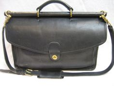 Vintage Coach 5266 Beekman Black Leather Briefcase/Attache/Lawyers/Messenger Bag by CLASSYBAG on Etsy