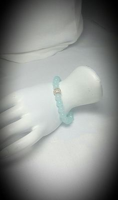 Sea Foam Glass Bracelet with Gold or Silver Crystal by LuvaBead