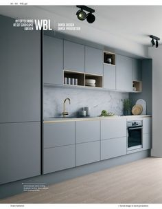 Our decorative ideas for the renovation of the kitchen buffet - HomeDBS Kitchen Room Design, Kitchen Cabinet Design, Modern Kitchen Design, Home Decor Kitchen, Interior Design Kitchen, Kitchen Colors, Contemporary Kitchen Cabinets, Minimalist Kitchen Cabinets, Handleless Kitchen
