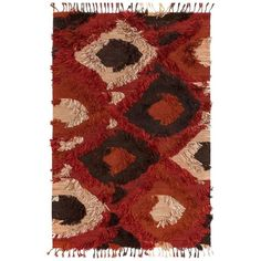 Raisa Global Boho Red Spice Flat Weave Tuft Rug 3'6x5'6 ($510) ❤ liked on Polyvore featuring home, rugs, flat woven rug, boho rug, tribal rugs, flatwoven rug and red rug