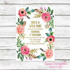 Wild One Birthday Invitation, Girl First 1st Birthday Invitation, Boho Feather Invitation, Floral Wreath Invite, Printable Invitation by CasaConfetti on Etsy https://www.etsy.com/listing/483983773/wild-one-birthday-invitation-girl-first