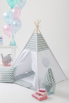 Wigiwama: Kids teepee in a chevron pattern. Stay tuned with this beautiful grey and mint WigiWama!