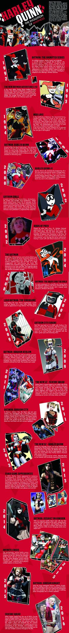 The evolution of Harley Quinn! #infographic #harleyquinn #dcomics #suicidesquad