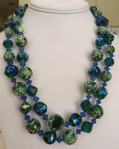 RARE VINTAGE PEACOCK VENETIAN GLASS BEAD AURORA BOREALIS CRYSTAL NECKLACE EARRINGS!