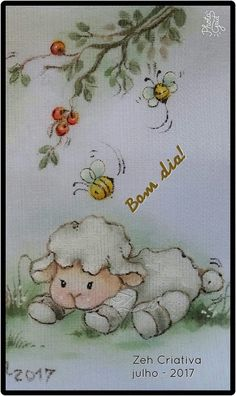 Ovelhinha Lion And Lamb, Sheep And Lamb, Baby Painting, Fabric Painting, Applique Designs, Embroidery Designs, Cute Sheep, Country Paintings, Animal Cards