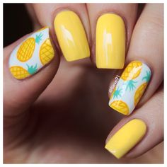 Pineapple mani inspired by @jesuisvernie Base yellow color has no name on the bottle It's one of those super cheap polishes but is super pretty!! The pineapples are hand drawn with acrylic paints!☺️ xoxo