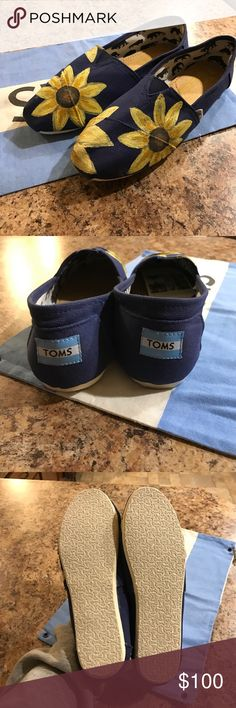 Hand Painted Sunflower Toms Hand painted navy blue sunflower toms. Brand new with tags, however this tag was ripped off on accident. Very adorable and comfortable. TOMS Shoes Flats & Loafers