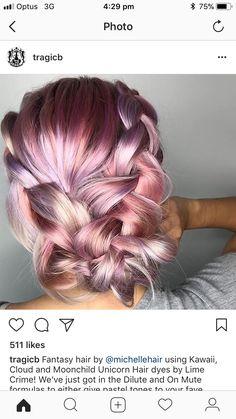 Fall Hair Colors, Hair Colour, Unicorn Hair Dye, Beautiful Hair Color, Fantasy Hair, Pastel Hair, Hair Dos, Pretty Cool, New Hair